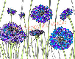 Floral Coloring Page Bachelor Buttons Art Adult Book Spring Flowers Therapy