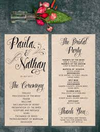 Rustic Wedding Program With Black Font