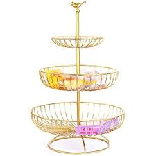 toruiwa obst etagere 3 stöckig obstkorb aus metall modern obstschale für snack dessert obst kuchen für hochzeit wohnzimmer