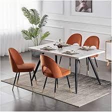 greneric 2x orange esszimmerstühle aus samt küchenstühle wohnzimmerstühl weich kissen sitz und rücken mit gold metallbeinen küche stühle für hause und