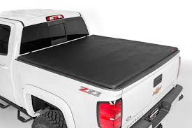 Rough Country - 44504550 - Soft Tri-Fold Tonneau Bed Cover (5.5-foot ...