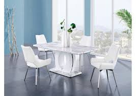 White Marble Dining Table W 4 ChairsGlobal Furniture USA