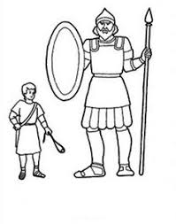 The Height Differencies Between David And Goliath Coloring Page