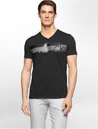 calvin klein white label ck one stripe chest logo v neck t shirt