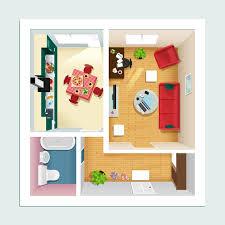 moderner detaillierter grundriss für wohnung mit küche