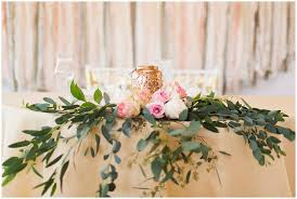 Pink Roses And Greenery Centerpiece Sweetheart Table