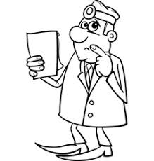 Thinking doctor black and white cartoon Royalty Free Vector