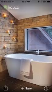 Rustic Bathroom With Stone Wall Detail