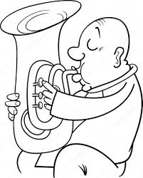 Saxophone Xylophone Coloring Page Musical At Tuba