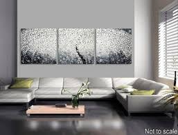 große abstrakte acrylbilder auf leinwand deco großes bild baum blüten landschaft 3d strukturiert 270 x 90 schwarz weiß bilder by ilonka
