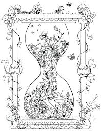 Garden Hourglass Coloring Page Printable Pages Adult For Adults