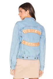understated leather go sit on a cactus denim jacket in sky blue