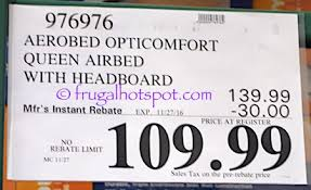 Aerobed Queen Air Bed With Headboard by Costco Sale Aerobed Opticomfort Queen Airbed With Headboard
