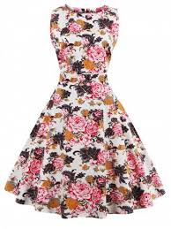 Outfit Flare Knee Length Floral 50s Swing Dress