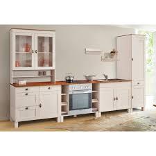 home affaire küchen set oslo 7 tlg ohne e geräte breite 350 cm aus massiver kiefer 23 mm starke arbeitsplatte mit metallgriffen