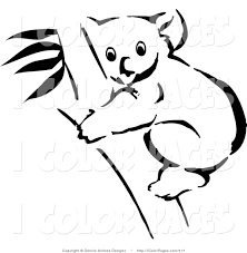 Vector Coloring Page Of A Black And White Outline Koala In Tree