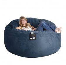 Navy Blue Round Microfiber Foam Bean Bag Chair Lounge Seat Bed Home Furniture
