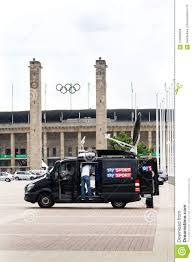 Sky Sports Television Production Truck Stands In Front Of Olympic ...