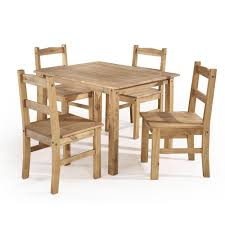 Manhattan Comfort York 5 Piece Nature Solid Wood Dining Set With 1 Table And