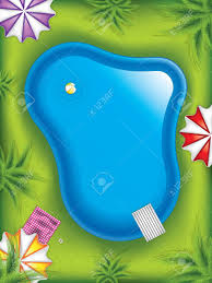 Top View Of Swimming Pool In The Garden With Palm Trees Umbrellas And Beach Ball