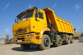 100 Blue Dump Truck Yellow Parked Against Clear Sky Stock Photo Picture