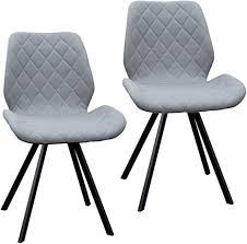 2er set esszimmerstuhl polsterstuhl stuhl küchen stuhl grau dunkelgrau hellgrau stoff metall beine retro gesteppt hellgrau