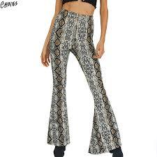 Polychrome Snake Skin Print Flare Pants Women Elastic High Waist Novelty Design 2017 New Silm Skinny
