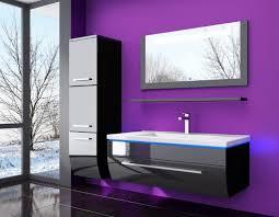 5 teilig badmöbel set 60 schwarz led hochglanz badezimmermöbel led system fertig montiert