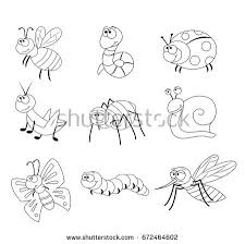 Coloring Page For Preschool Children Set Of Different Cartoon Insects Funny Vector