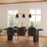 led pendelleuchte esstisch holz hängeleuchte 3 flammig warmweiß höhenverstellbar esstischle für esszimmer wohnzimmer büro cafe restaurant schwarz