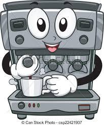 Coffee Machine Mascot Illustration Featuring A