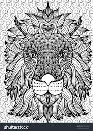 Hand Drawn Outline Lion Head Illustration Decorated With Abstract Doodle Zen Tangle Ornaments