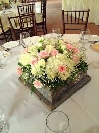 Barn Wood Box Centerpiece With Mason Jar Candle Holder White Hydrangea Pink Spray Roses And Babys Breath Rustic Wedding Centerpieces By Chesters Flower