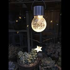 2pcs lot outdoor solar hanging led light crackle glass globe