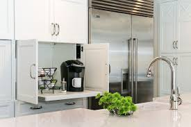 Cuisinart Keurig Coffee Maker With Transitional Kitchen Also Chrom Polished Nickel Pull Down Faucet Subzero Refrigerator White Cabinet