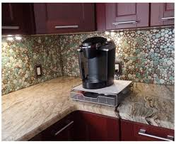 shaped mixed color porcelain pebble kitchen backsplash