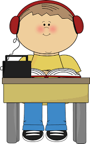 Boy Reading and Listening to Book Clip Art Boy Reading and