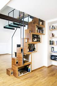 Modern Staircase For Excellent Home Ideas With Unique DIY DVD Storage And Stylish Wooden Floor