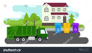 Suburb Landscape Containers Waste Recycling Sorting Stock Vector ...