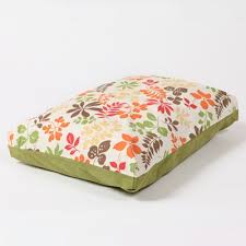 Washable Rectangular Dog Bed Cover Leaves and Flowers