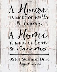 Custom Home Sign A Love And Dreams Address Date Housewarming Party QuotesHousewarming DecorationsGifts