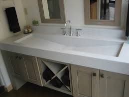 Double Faucet Trough Sink Vanity by Small Bathroom With Khaki Wooden Bath Vanity Trough Sinks And