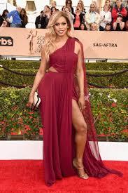 laverne cox burgundy one shoulder prom dress sag awards 2016 red