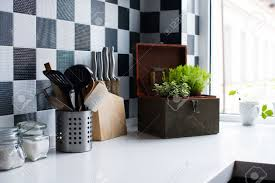 Kitchen Utensils Decor And Kitchenware In The Modern Interior Close Up Stock Photo