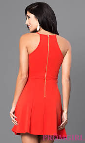short red sleeveless racerback casual dress promgirl