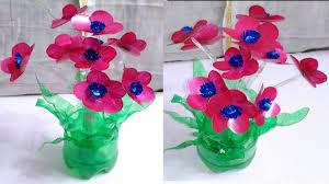 Flower Vase Of Plastic Bottle Unique Art Flowers Best Out Waste