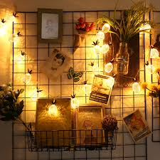 Elfeland 2FT Pineapple Globe LED String LightsBattery Powered Fairy Lighting For Christmas Home Wedding Party Bedroom Birthday Decoration Warm