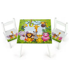 JUNGLE ANIMALS WOODEN TABLE & 2 CHAIRS SET CHILDRENS FURNITURE ZEBRA ...
