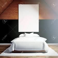 foto moder schlafzimmer in chale haus leere weiße leinwand auf dem holz wand und klassische doppelbett holzboden hängen