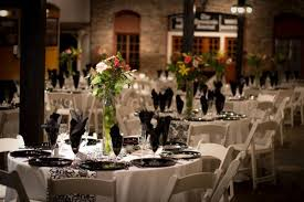White Table Cloths Garden Chairs Black Chargers And Damask Runners Napkins Gold Rimmed Glassware